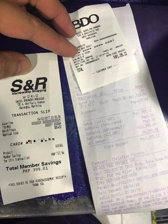 S&R Members 3 Pesos Off Fuel 5