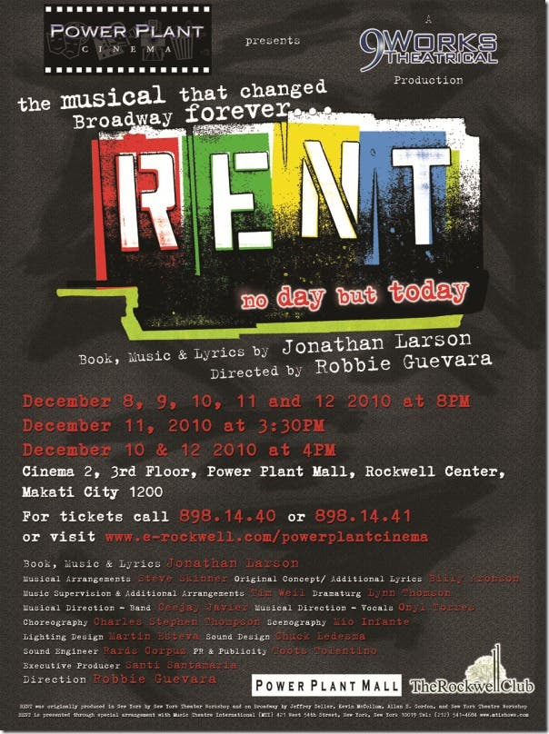 RENT Musical Rockwell Power Plant Mall Poster