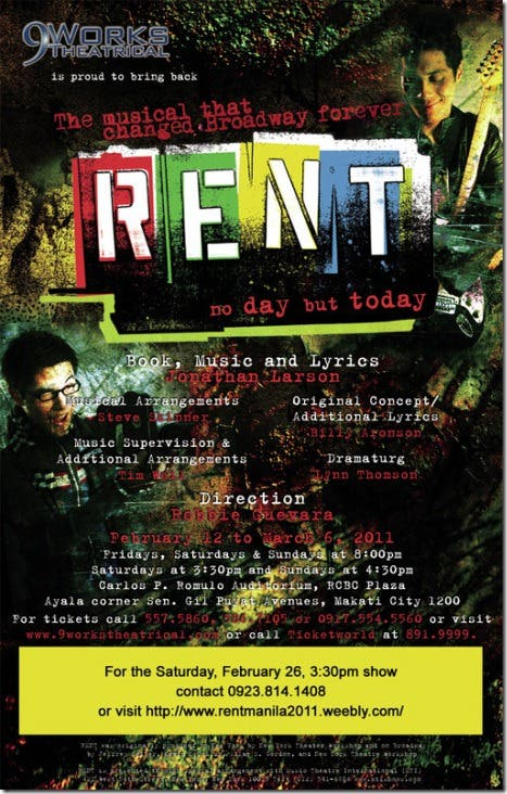 Rent the Musical Theater Play 3rd Run in Manila Philippines