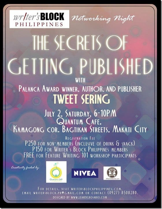 Your invitation to The Secrets of Getting Published the latest Networking Night of Writers Block Philippines