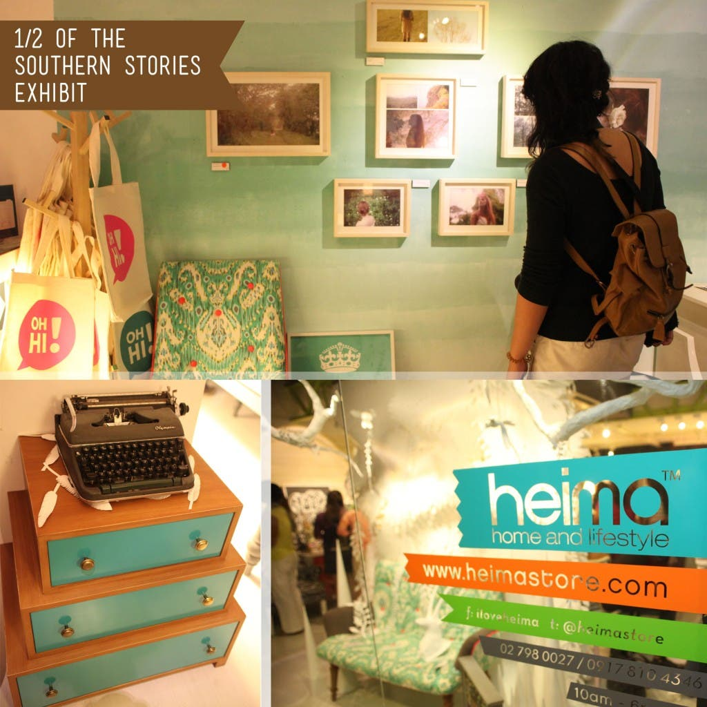 Heima Collage10 one half of southern stories exhibit: Aleyn Comprendio's Photos, Teal Typewriter and the Heima Store Facade