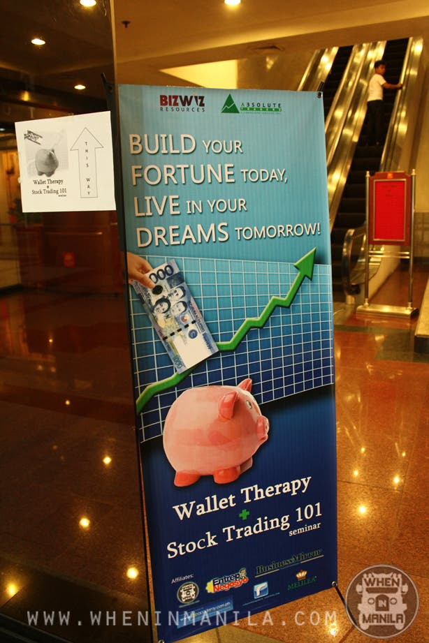 wallet therapy and stock trading seminar sign