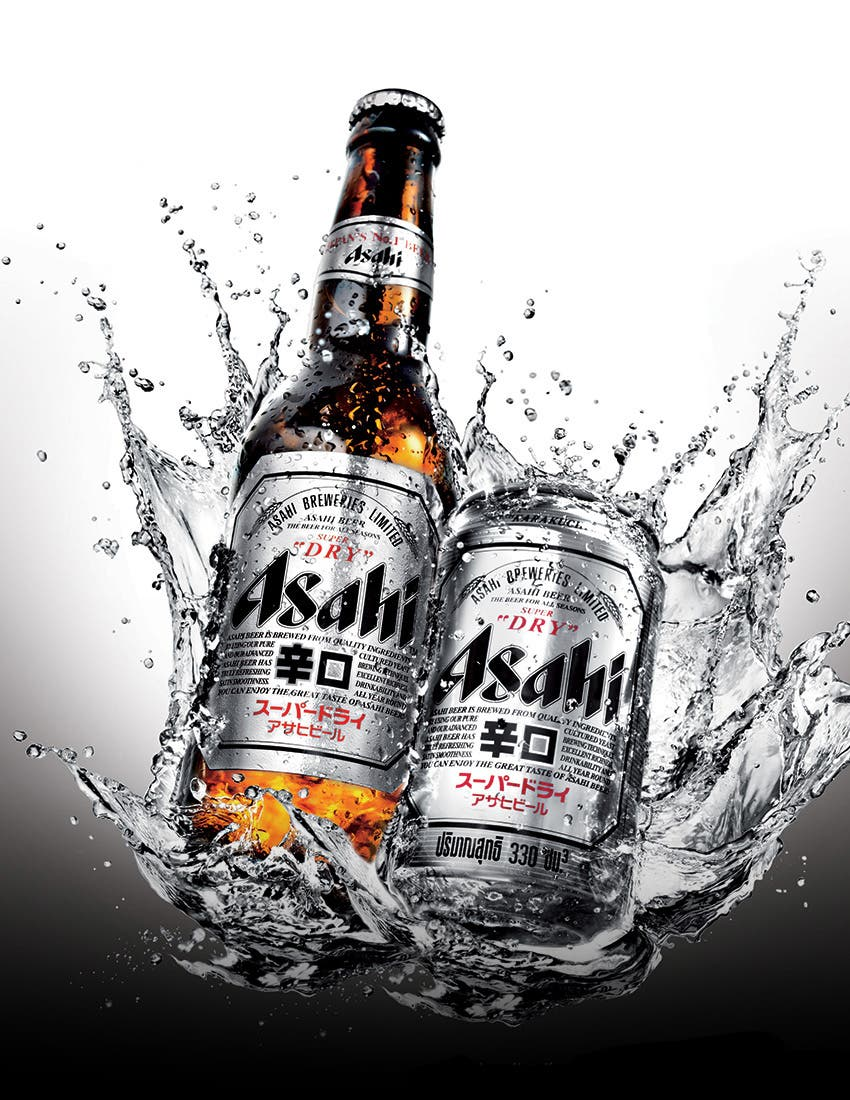 Asahi Beer Bottle and Can