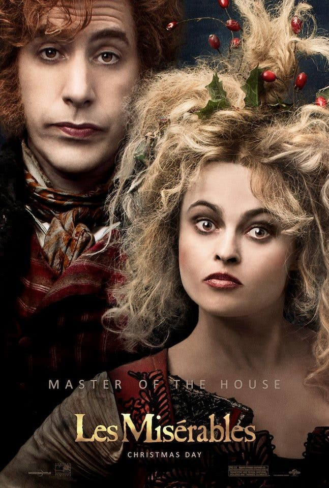 Master of the House. Sacha Baron Cohen and Helena Bonham Carter as The Thénardiers in Les Misérables