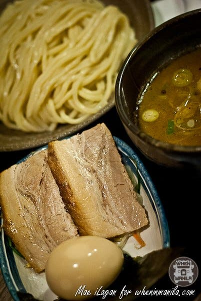 Marutoku Tsukemen Reg. 340php / Large 380php The same al dente noodles, only thinner and served cold. Brought to perfection with Aji-tama (Japanese egg), nori and pork tonkotsu broth.