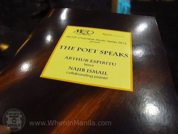 program The Poet Speaks MCOF Manila Chamber Orchestra Foundation Ayala Museum