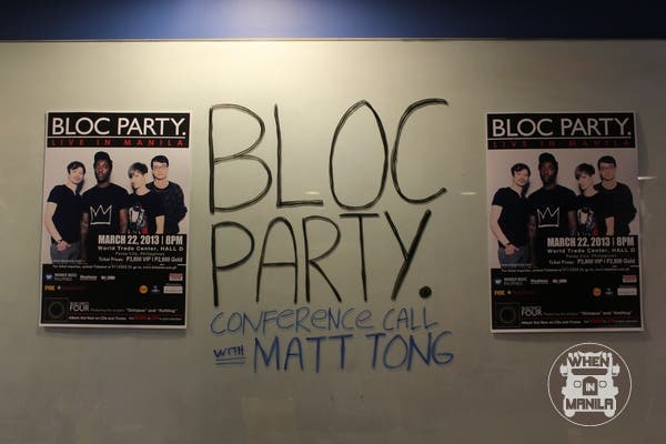 Bloggers and Writers enjoyed a 40-minute chitchat with Bloc Party's drummer- Matt Tong