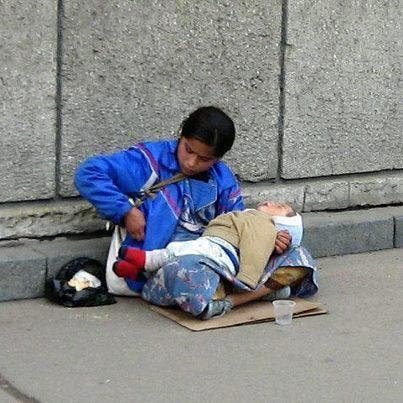 WHY DOES THE CHILD IN HANDS OF THE BEGGAR ALWAYS SLEEPING