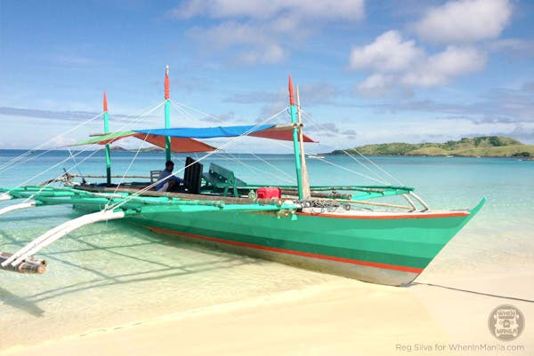Outrigger boat to and from Calaguas