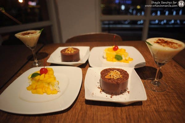I assure you, your stomach will make room for more L-R: Mango Cheesecake, Chocolate Mousse, Buko Pie Martini