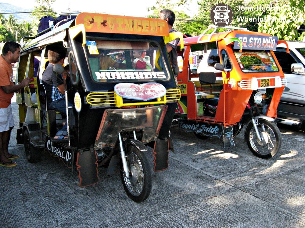 Camiguin's tricycle can sit 4 persons comfortably and can squeeze in more people if necessary.