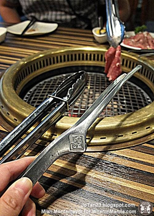 Two kinds of tongs are used. The grilling or lifting tongs (left) and serving tongs (right).