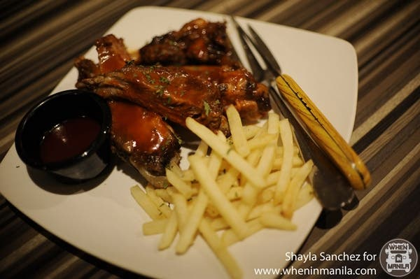 BBQ Baby Back Ribs: Served with fries, rice pilaf and a side of bbq sauce. Good for sharing