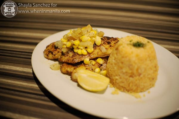Cajun Lime Dory: Pan grilled cajun-seasoned Dory with corn-tomato relish and rice pilaf