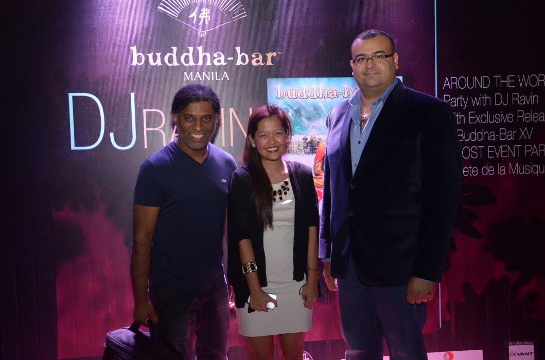 DJ Ravin, Arianne Aguja (Marketing Manager, Buddha-Bar Manila), Nabil Souhail (Director of Business Development, Buddha-Bar)