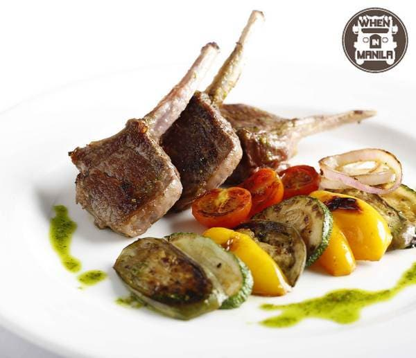 Lamb chops with roasted eggplant