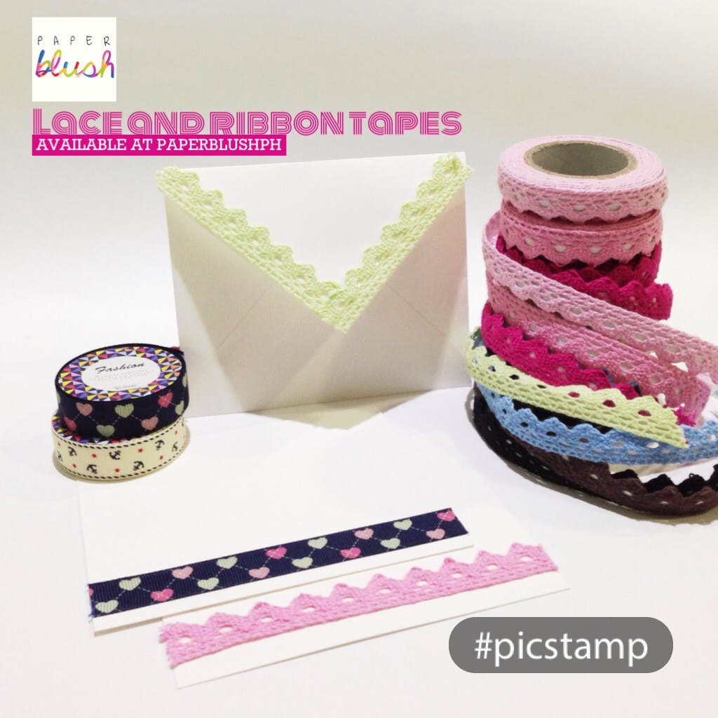 Lace and Ribbon Tapes paper blush