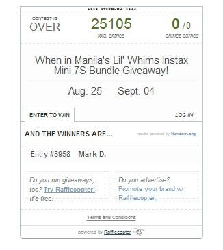 WhenInManila contest raffle entry 25000 entries