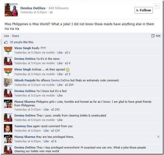 Devina DeDiva Racist Comments about Miss World Calls Miss Philippines a Poor Smelly Maid (1)