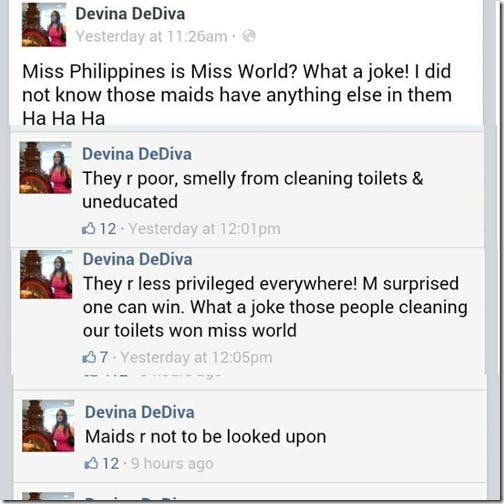 Devina DeDiva Racist Comments about Miss World Calls Miss Philippines a Poor Smelly Maid (4)