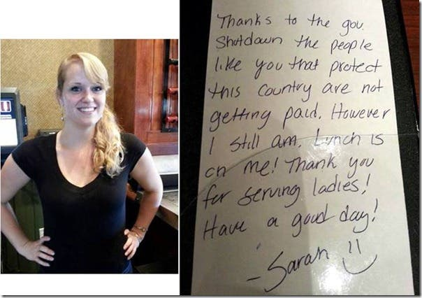 Waitress and Single Mother Pays for Soldier's Lunch during Government Shutdown is Paid Back by Ellen