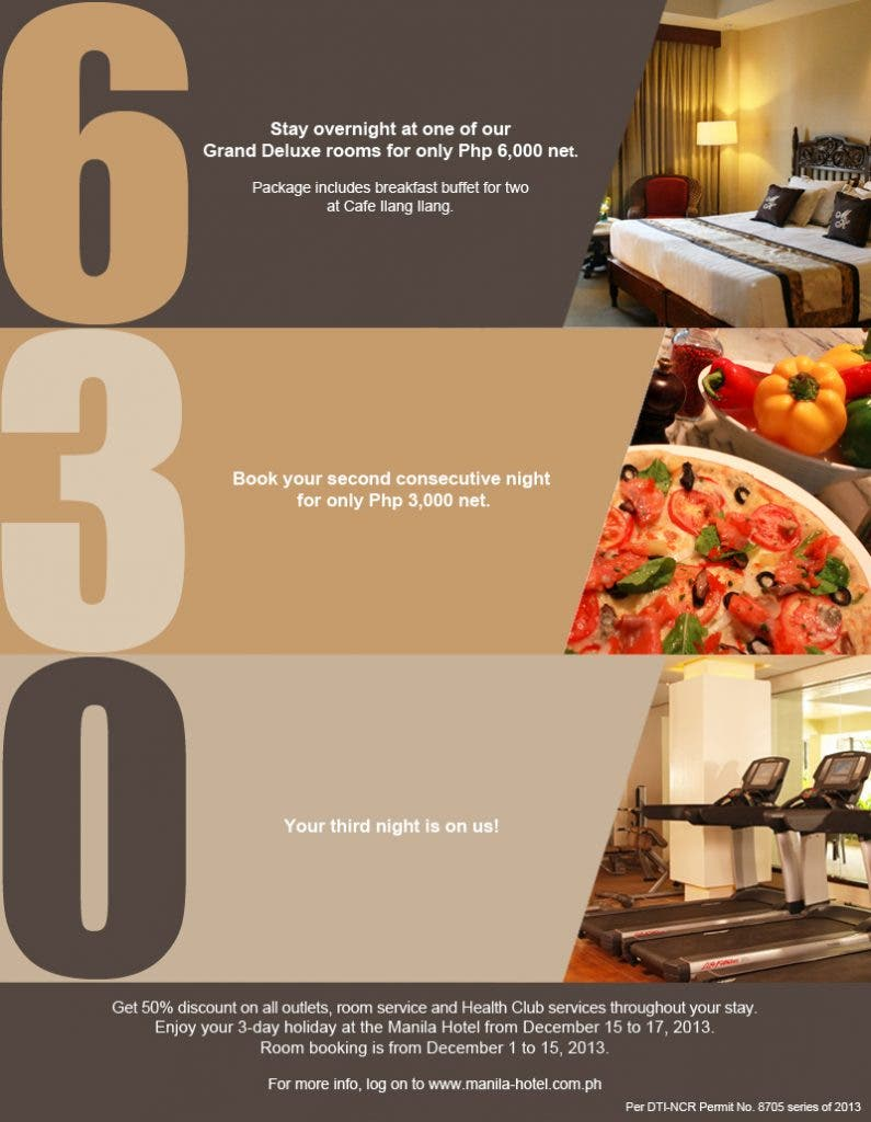 The Manila Hotel brings back its 6-3-0 promo this December