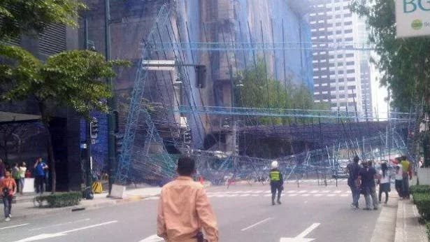 Fort Bonifacio Global City Accident Street Fixture Protective Covering Collapses