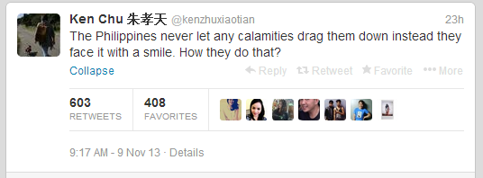 Ken Chu tweets on super typhoon yolanda