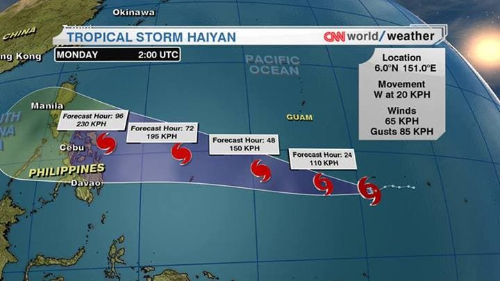 Super Typhoon HAIYAN entering Philippine area of responsibility Thursday or Friday