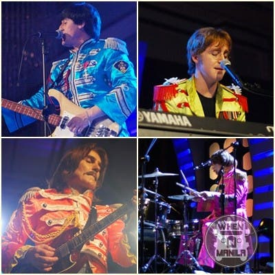 From grey suits they changed to their colorful mock soldier uniforms as they played songs from the Sgt. Pepper era like Sgt. Pepper's Lonely Hearts Club Band, Lucy in the Sky with Diamonds, With a Little Help from My Friends, and the funky Come Together.
