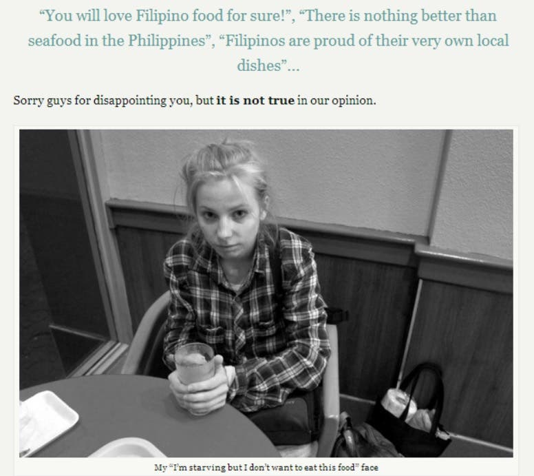 etramping I would rather go hungry than eat filipino food Philippines