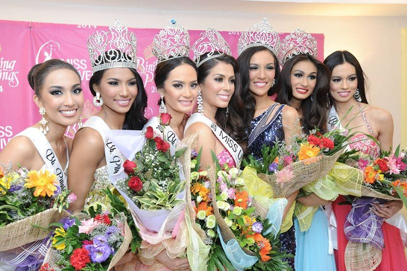 Hail to the new queens! (L-R) 2nd-runner up: Bb 27 Hannah Sison, Bb Pilipinas – Tourism: Bb 4 Parul Shah, Bb Pilipinas – Intercontinental: Bb 13 Kris Tiffany Janson, Bb Pilipinas – Universe: Bb 25 Mary Jean Lastimosa, Bb Pilipinas – International: Bb 22 Mary Anne Guidotti, Bb Pilipinas – Supranational: Bb 35 Yvethe Marie Santiago, 1st runner up: Bb 11 Laura Lehmann