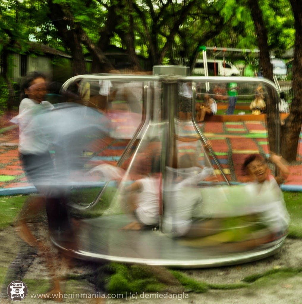 One can experiment with slow shutter speed to capture emotions. Photo taken in Quezon City Circle.