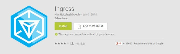 Ingress app as seen in the Google Play Store