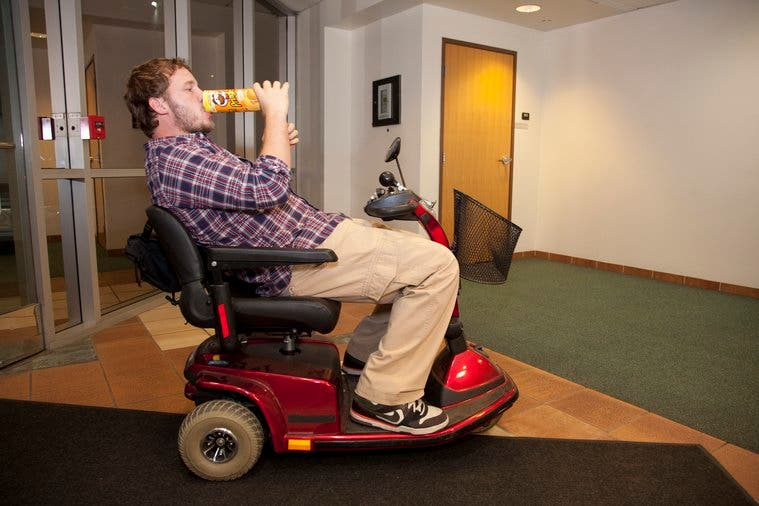 Step 2: Move as little as possible. I drive this to the bathroom.