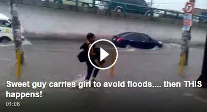 Sweet guy carries girl to avoid flood then THIS happens