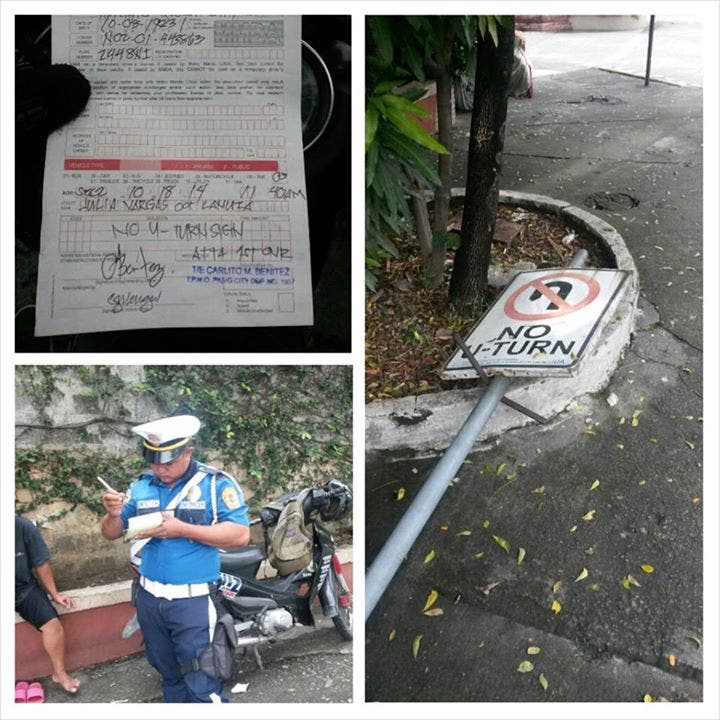 Police Force Uses Fallen U-Turn Sign to Penalize Drivers