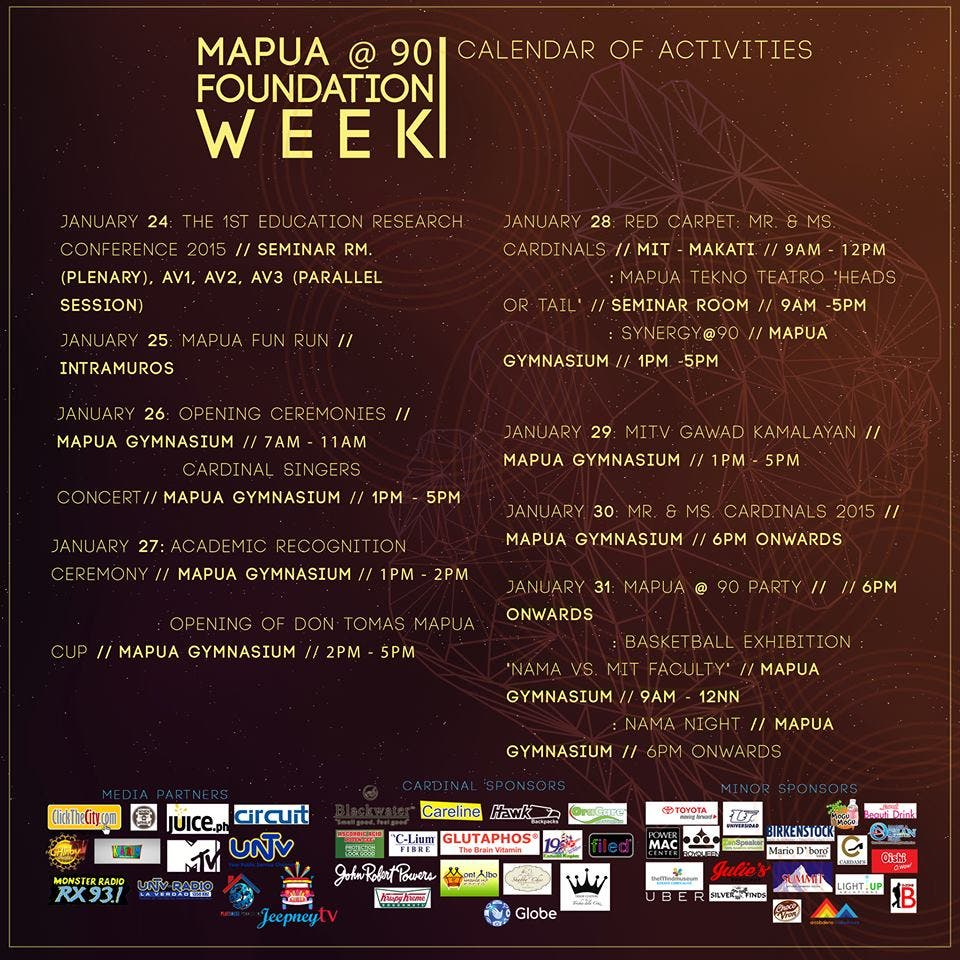 90TH FOUNDATION WEEK - SCHEDULE OF ACTIVITIES WITH SPONSORS