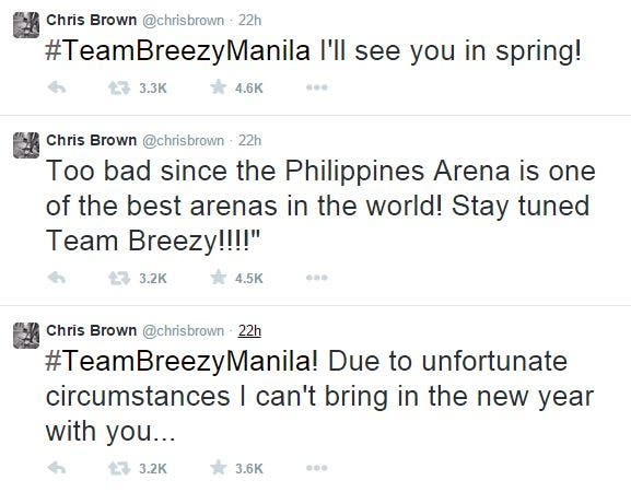 Chris Brown a No-Show in Manila Concert
