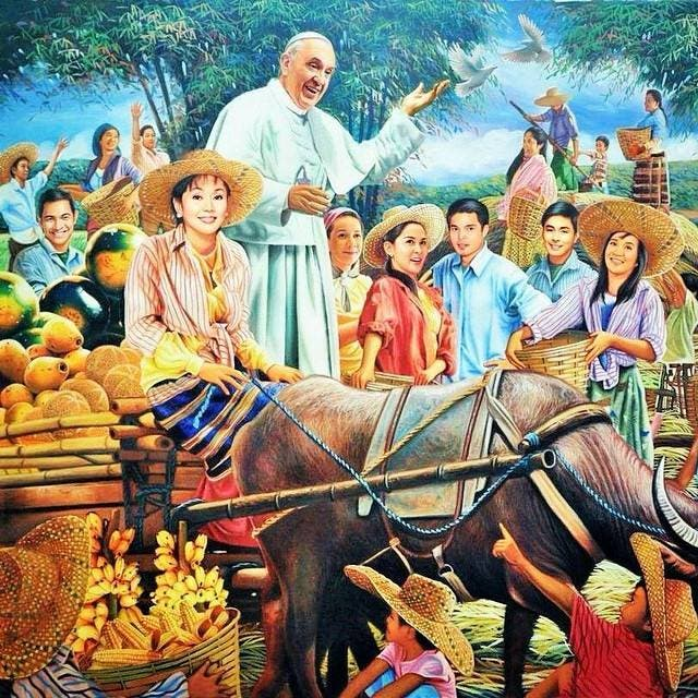 Filipino Celebrities Featured in Painting with Pope Francis