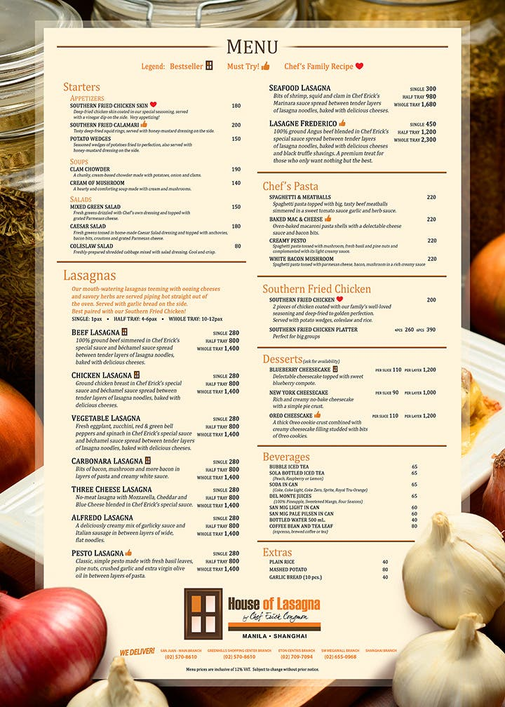 House of Lasagna-Menu