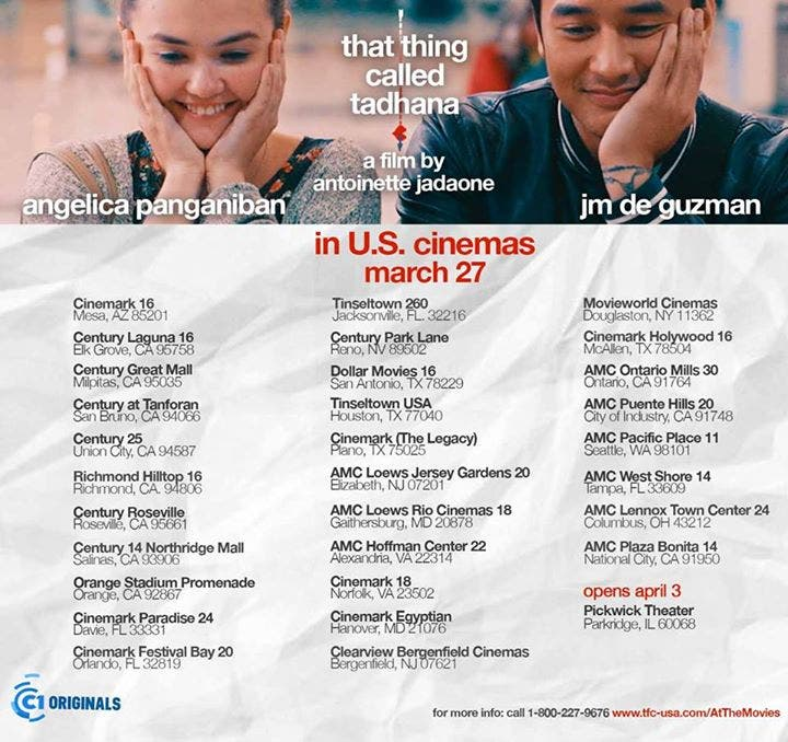 'That Thing Called Tadhana' to Be Screened in the US