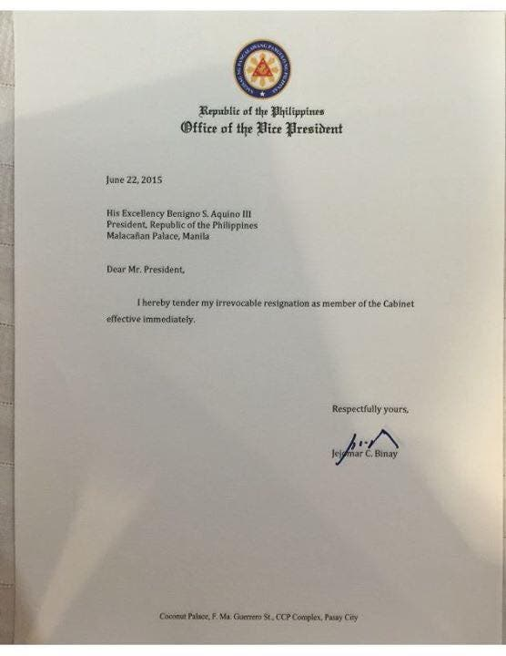 Here is pnoys epic reply to vp binays one liner resignation binays resignation letter expocarfo Choice Image