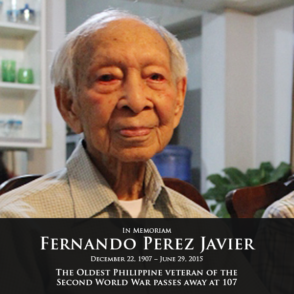 Oldest Philippines Veteran of WWII Passes On