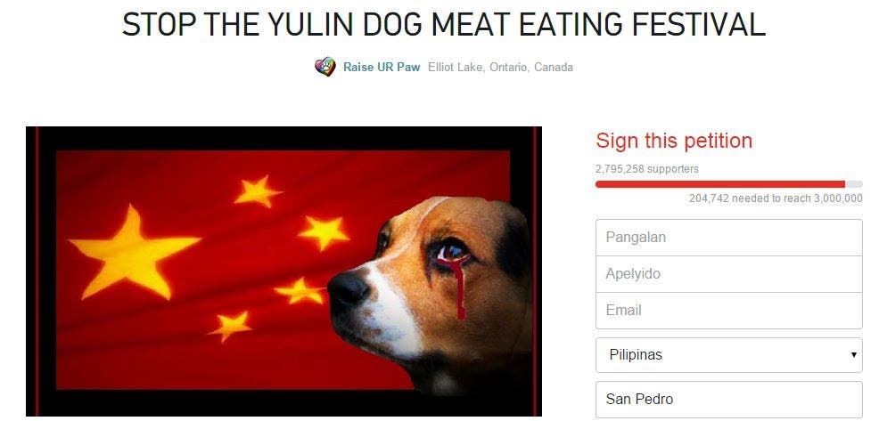 Sign This Petition to Stop the Yulin Dog Meat Eating Festival