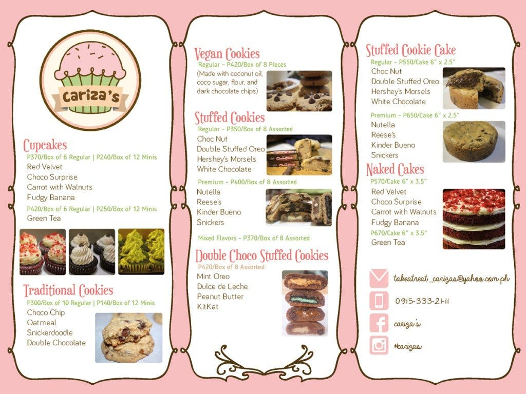 Carizas Stuffed Cookies Menu