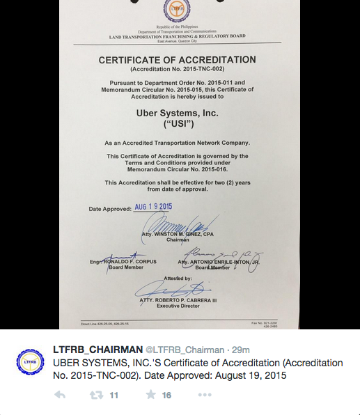LTFRB Uber accreditation