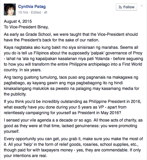 Open letter to binay