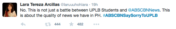ABS-CBN sorry to UPLB twitter