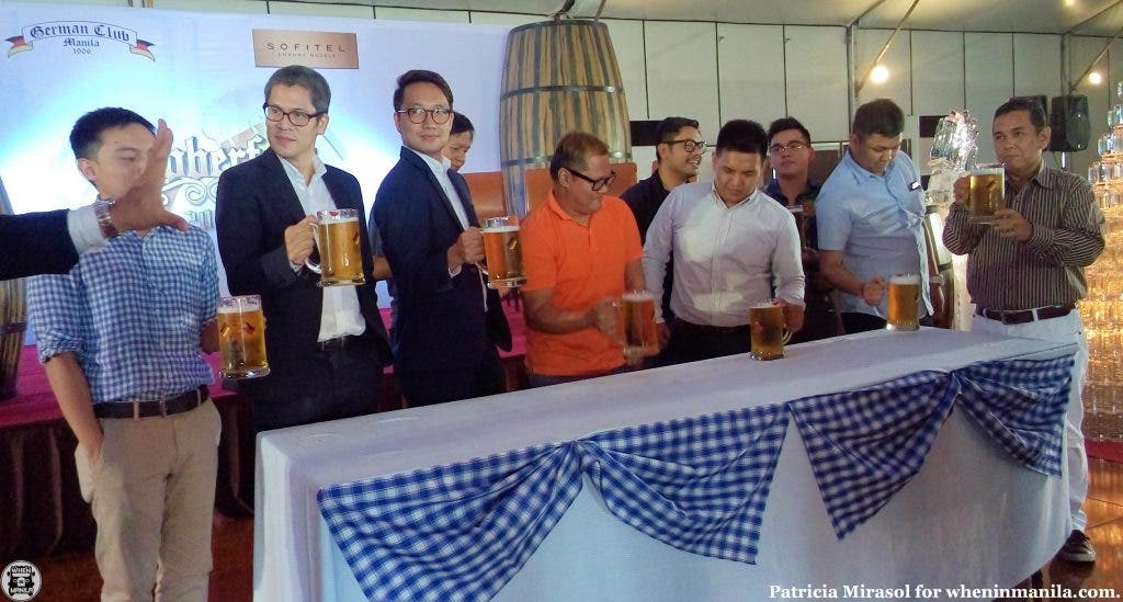 Beer drinking contest at Sofitel's 2015 Oktoberfest press launch.